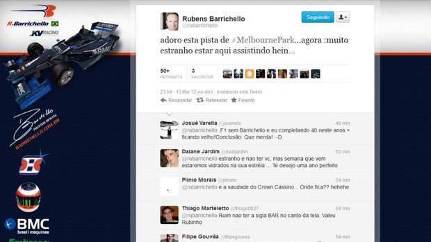 Barrichello no twitter (Foto: Reprodução)