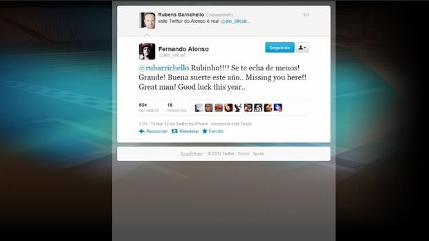 Fernando Alonso twitter (Foto: Reprodução)