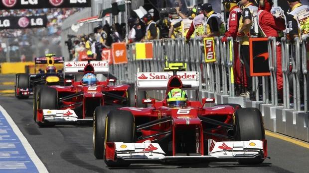 F1 GP da Austrália Felipe Massa e Fernando Alonso (Foto: AP)