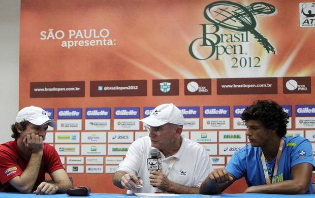 Ricardo Mello e Feijão no sorteio da chave do Brasil Open (Foto: Gaspar Nóbrega / Divulgação)