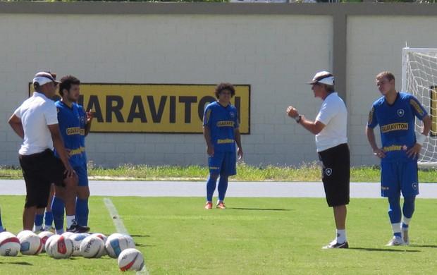 Oswaldo explica treino jogadores Botafogo (Foto: André Casado)