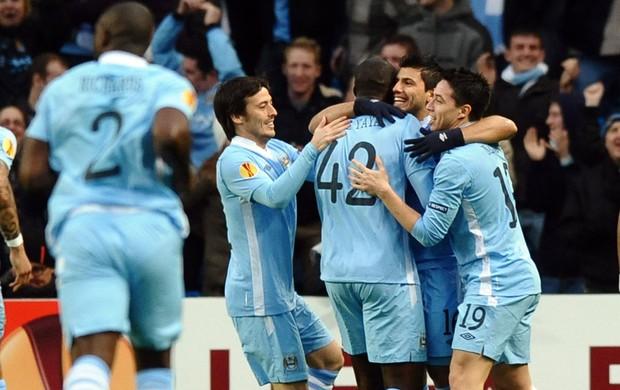 Sergio Aguero Manchester City x Porto (Foto: AFP)
