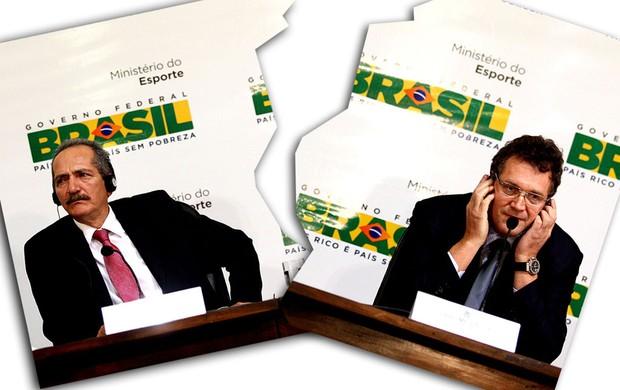 Aldo Rebelo e Jerome Valcke durante coletiva Copa 2014 arquivo (Foto: Ailton de Freitas / Agência O Globo)