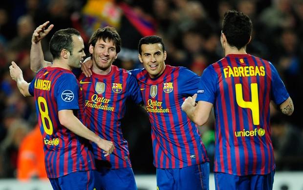 Messi Iniesta Fabregas gol Barcelona (Foto: AP)