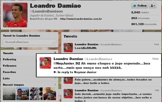 Print Twitter do Leandro Damião falando com Neymar (Foto: reprodução twitter)