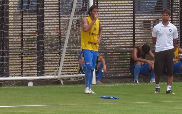 Loco Abreu treino Botafogo (Foto: André Casado)