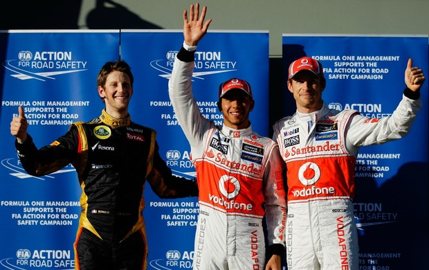 F1 GP da Austrália Grosjean, Hamilton e Button (Foto: Getty Images)