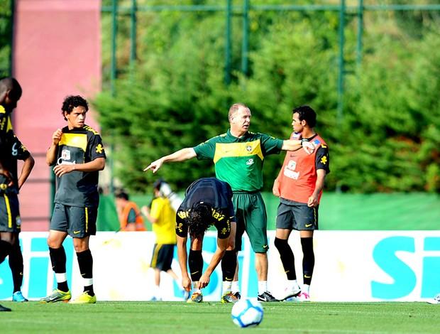 Mano Menezes e Jogadores no treino da Seleção. Brasil