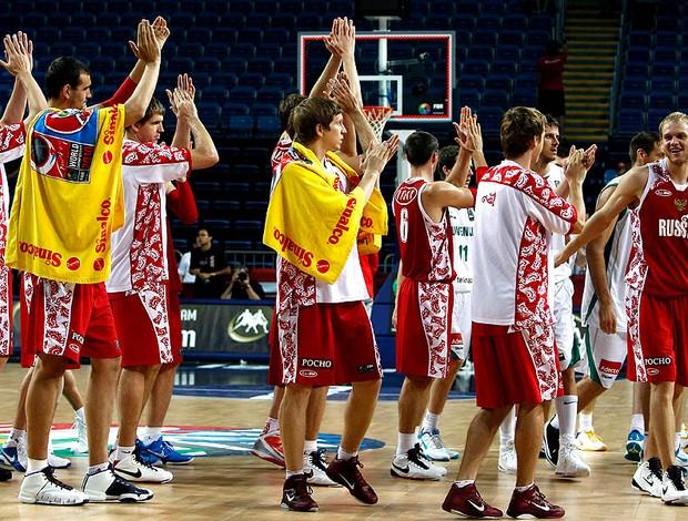 Rússia comemora vitória no basquete