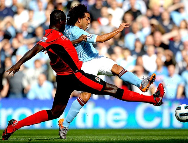 Tevez na partida do Manchester City contra o Blackburn