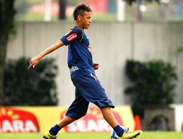 Neymar no treino do Santos