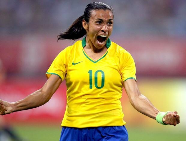 Marta com a camisa da seleção em 2008