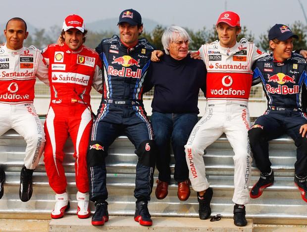 Bernie Ecclestone Webber Hamilton Alonso Vettel Button Coreia do Sul (Foto: Getty Images)