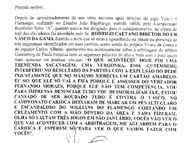 súmula vasco x flamengo Rodrigo caetano
