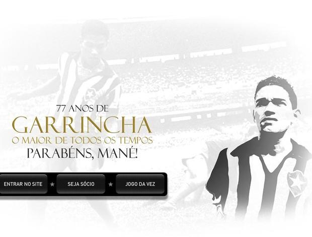 Arte em homenagem ao Garrincha no site do Botafogo