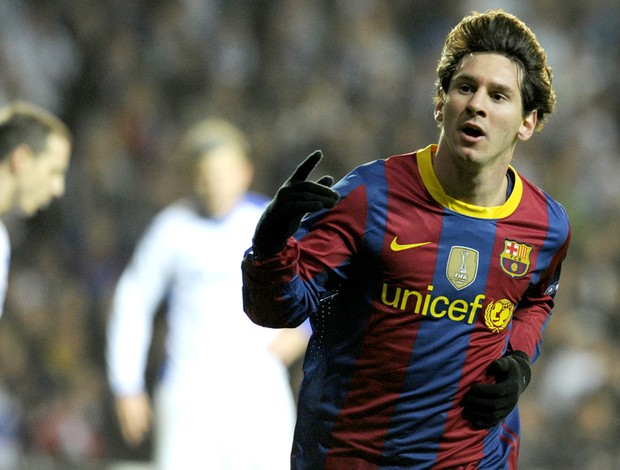 messi comemora, copenhague x barcelona