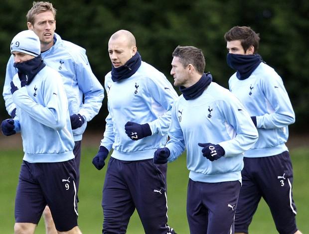 Treino Tottenham - Roman Pavlyuchenko, Peter Crouch, Alan Hutton, Robbie Keane e Gareth Bale
