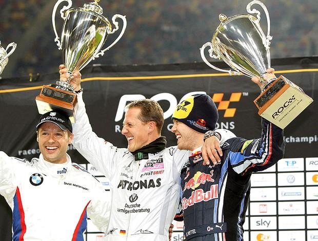 Schumacher e Vettel comemoram na corrida dos Campeões