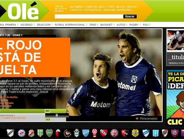 reprodução jornal ole independiente campeão sul-americana