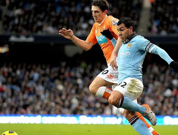 Tevez na partida do Manchester City contra o Blackpool