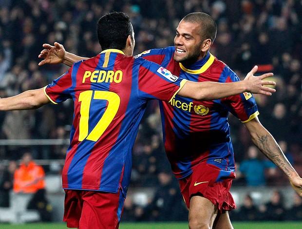Pedro, Daniel Alves, comemoração, Barcelona