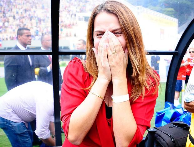 patricia amorim chorando flamengo x bahia copa sp