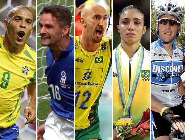 montagem top 5 Natália Falavigna - Ronaldo, baggio, Nalbert, Polzin e Armstrong (Foto: Editoria de Arte / GLOBOESPORTE.COM)