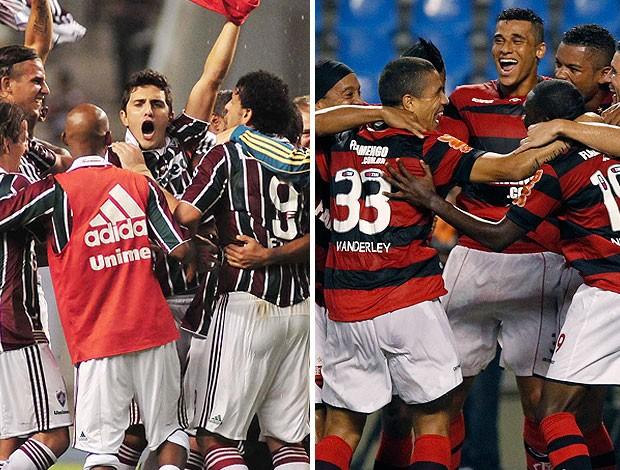 montagem Fluminense Flamengo comemoração (Foto: Editoria de Arte / GLOBOESPORTE.COM)
