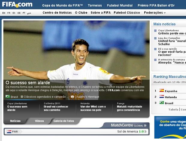 Henrique site da Fifa (Foto: Site Oficial da FIFA)