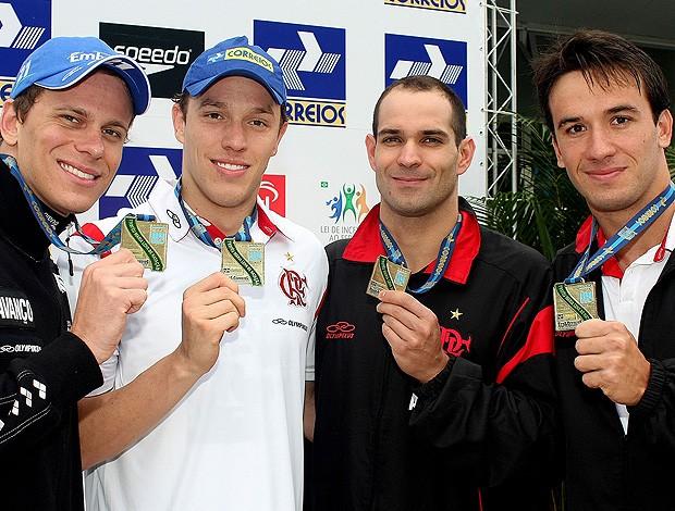 Cesar Cielo, Henrique Rodrigues, Nicholas Santos e Ramom Melo 4 x50 metros Troféu Maria Lenk de Natação   (Foto: Satiro Sodré/Divulgação CBDA)