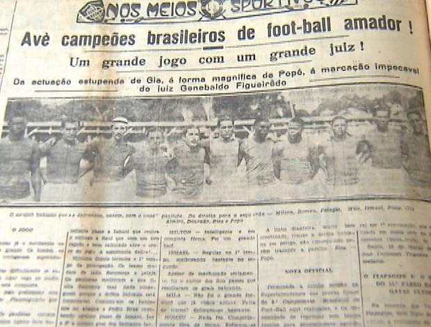 seleção baiana vence torneio - jornal da época - para especial irmã dulce (Foto: Reprodução/TV Bahia)
