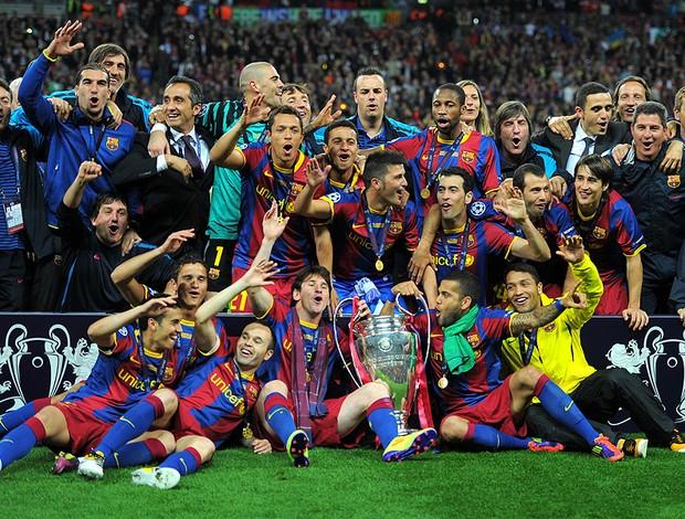 jogadores barcelona barcelona taça liga dos campeões (Foto: agência AFP)