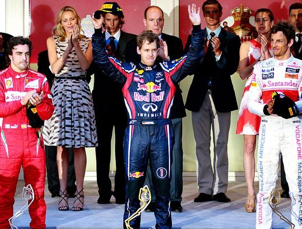 Vettel vence GP de Mônaco seguido por Alonso e Button (Foto: Reuters)