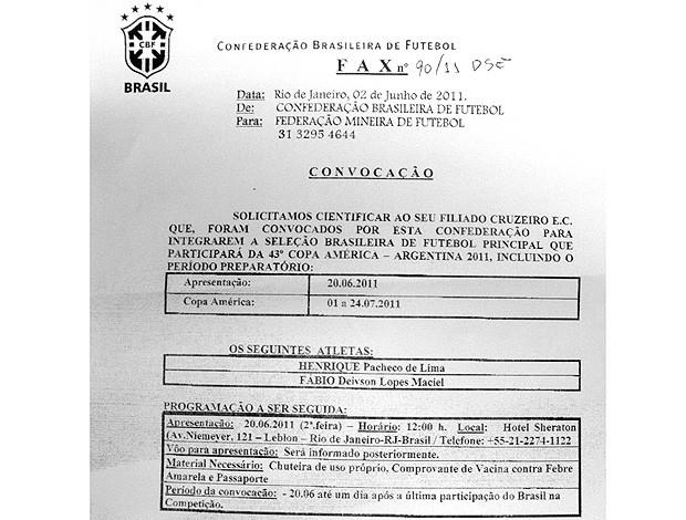 Fax CBF convocação (Foto: Reprodução)