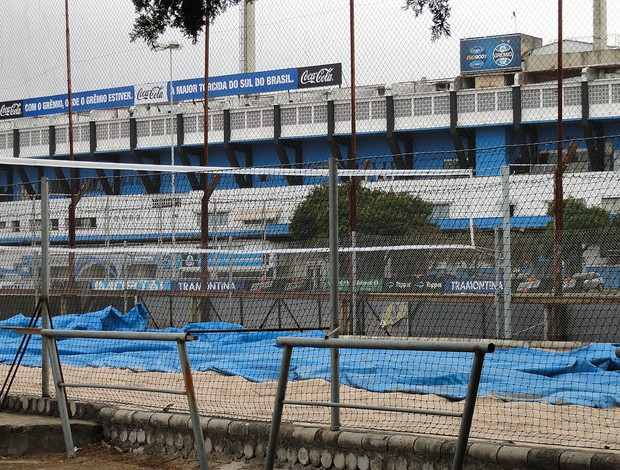 Quadra de futevôlei no Olímpico (Foto: Eduardo Cecconi/Globoesporte.com)