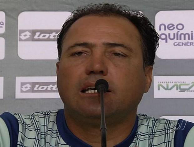 Márcio Goiano em coletiva pelo Goiás (Foto: Reprodução/TV Anhanguera)