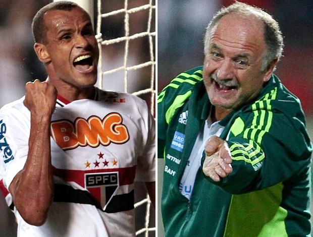Montagem Rivaldo e Felipão, São Paulo x Palmeiras (Foto: Editoria de Arte / Globoesporte.com)
