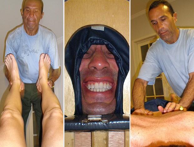 MONTAGEM - Corrida: Após treino Massagem (Foto: Arquivo Pessoal)