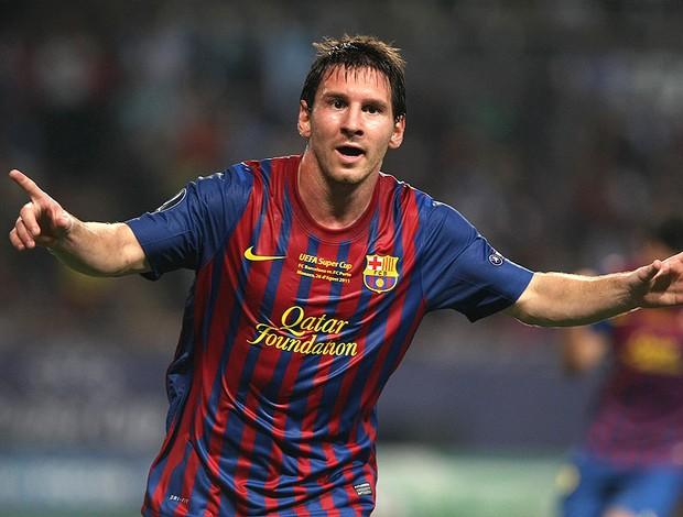 Messi comemora gol do Barcelona contra o Porto (Foto: AP)