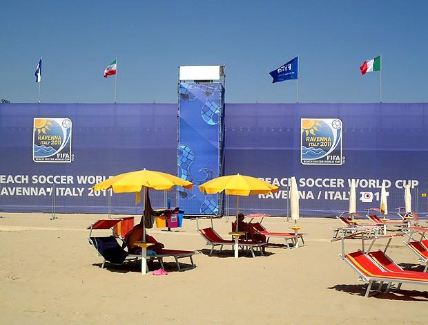 Stadiu del Mare Ravenna mundial futebol de areia (Foto: Igor Christ / Globoesporte.com)