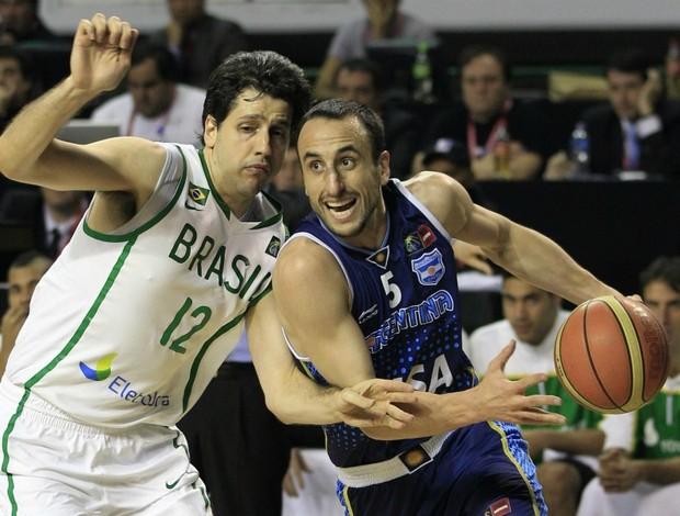 basquete Giovannoni Ginóbili Brasil x Argentina Copa América (Foto: AP)