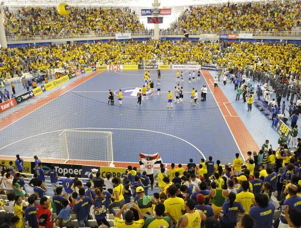 Seleção de futsal em amistoso com a Argentina  (Foto: Divulgação CBFS)