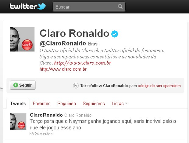 Twitter do Ronaldo falando Neymar (Foto: Reprodução / Twitter)