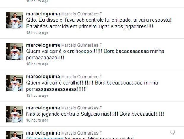 twitter de marcelinho guimarães, presidente do bahia: desabafa com palavrões após vitória sobre são paulo (Foto: Reprodução/Twitter)