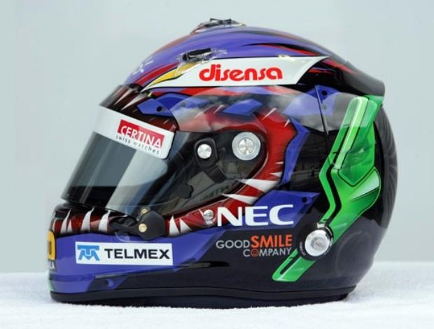 Kobayashi, da Sauber, usará, no Brasil, capacete desenhado por Joe Hahn, do Linkin Park. Modelo será leiloado após GP e dinheiro destinado a projeto da banda para reconstrução do Japão (Foto: Divulgação) (Foto: Divulgação)