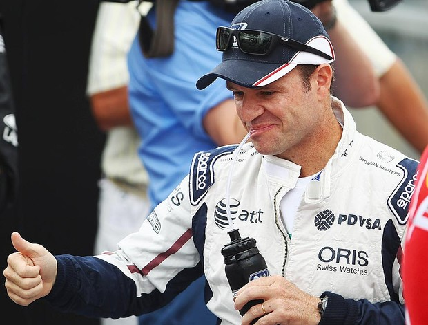 Barrichello nos boxes do GP do Brasil (Foto: Getty Images)