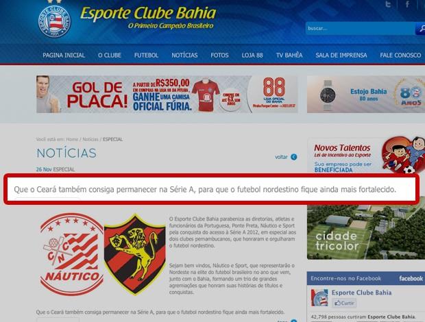 reprodução site do Bahia ceará (Foto: Reprodução Site Oficial do Bahia)