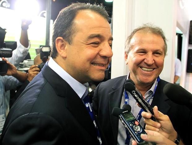 Zico e Sergio Cabral na feira Soccerex (Foto: Ricardo Ayres / Photocamera)