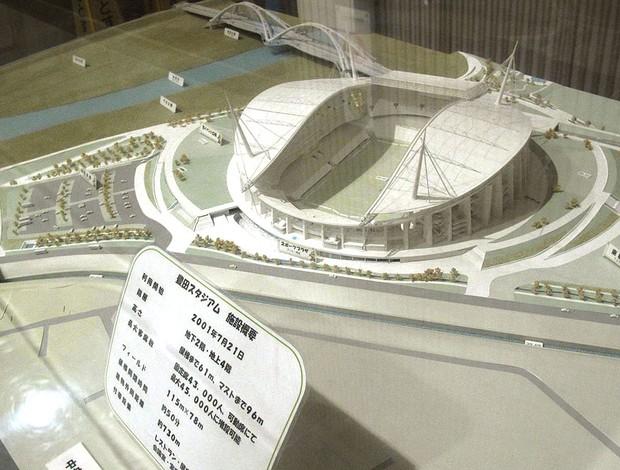 Maquete do estádio de Toyota localizado na entrada do estádio (Foto: Thiago Dias / Globoesporte.com)