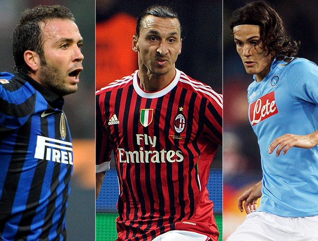 montagem pazzini ibrahimovic cavani  (Foto: Getty Images)
